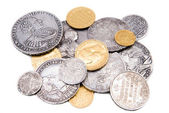 Old gold and silver coins isolated on wh — Stock Photo