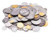 Heap of old gold and silver coins — Stock Photo