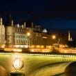 Cite island with Conciergerie and Eiffel — Stock Photo