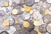 Old gold and silver coins background — Stock Photo