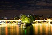 Cite island and bridge Neuf. Night view — Stock Photo
