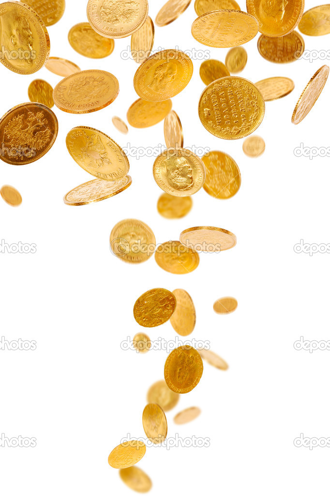 Old gold coins isolated on white background — Stock Photo #2180262