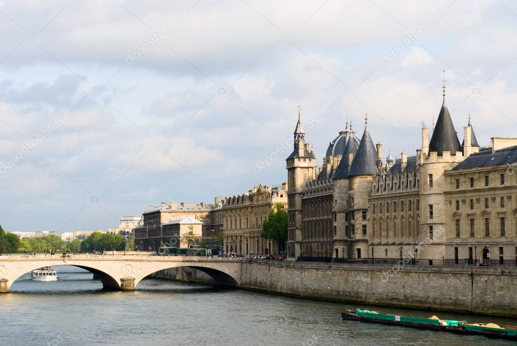 Cite island view with Conciergerie and bridge Change. Paris  Stock Photo #2188159