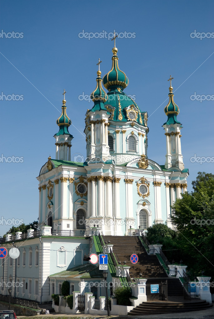 Saint Andrew orthodox church in Kiev, Ukraine — Stock Photo #2192067