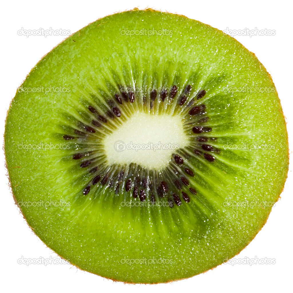 Cross-section of a kiwi isolated on white background — Stock Photo #2198908