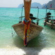 Stock Photo: Traditional thai boat at the beach
