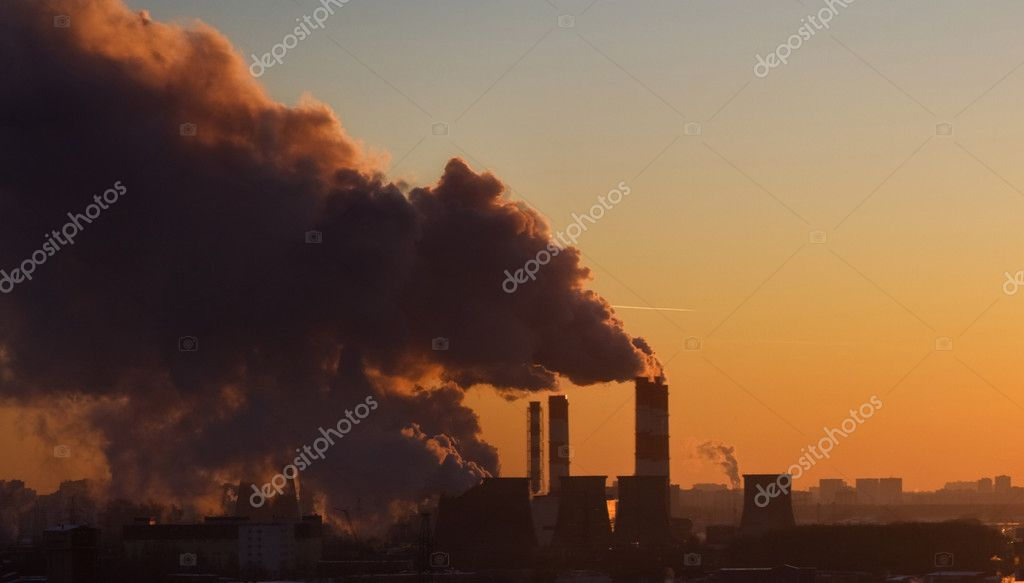 Clubs of a smoke from factory pipes — Stock Photo #2416507