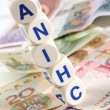 Dice on chinese currencies — Stock Photo