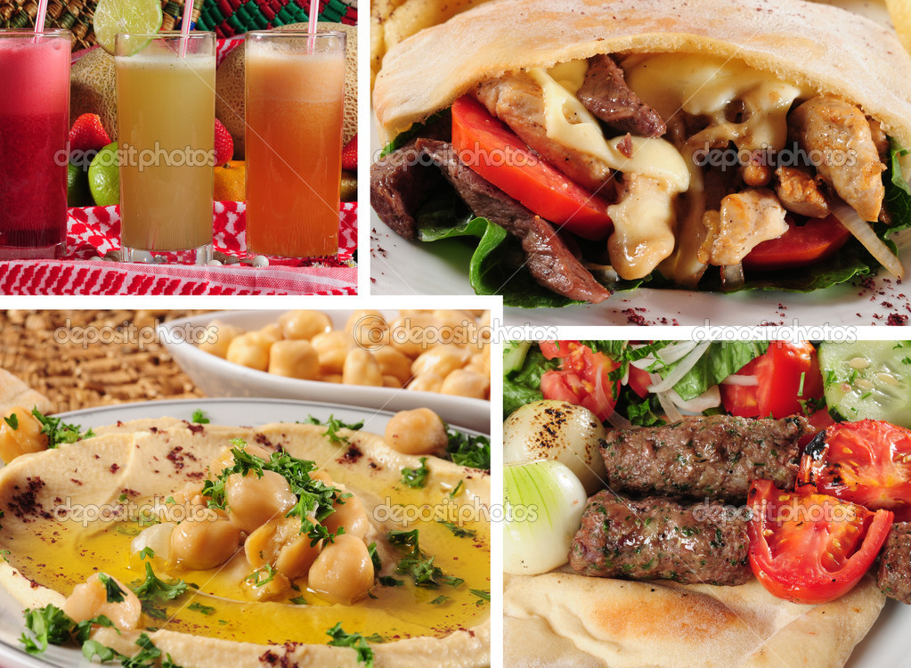 Middle eastern popular menu. Shawarma,shish kebab,hummus and natural fruit juice. — Stock Photo #2120366