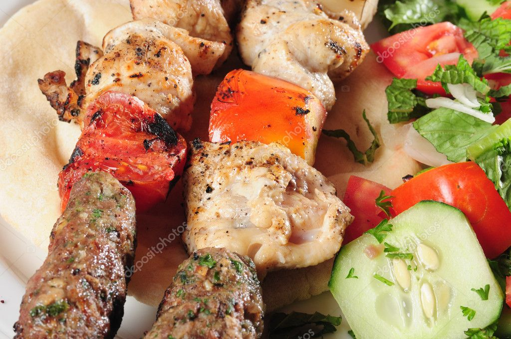 Shish kebab on pita bread.  Stock Photo #2217060