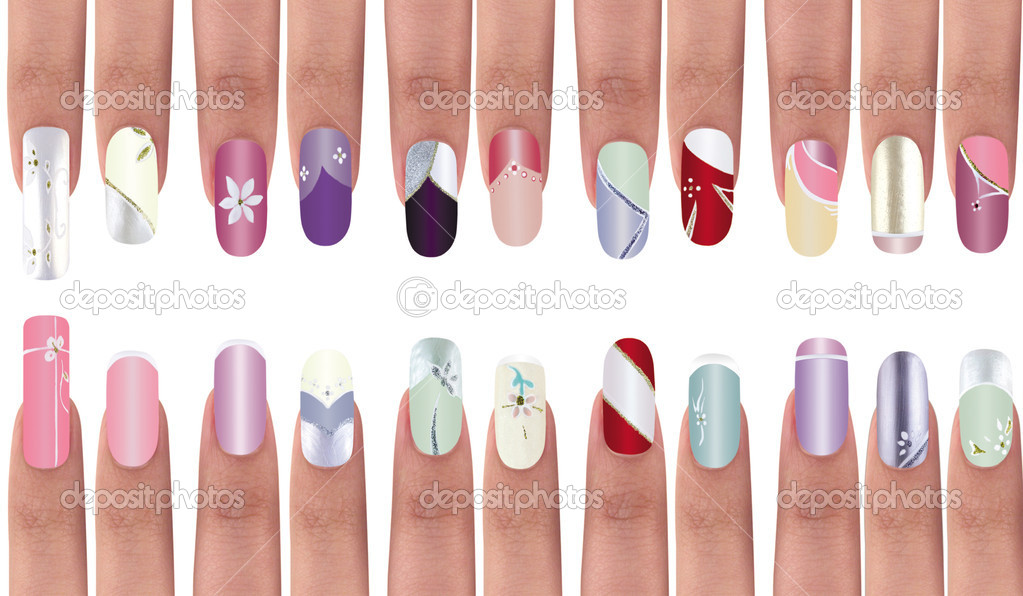 Colorful manicure polish design on acrylic surface material. — Stock Photo #2232926
