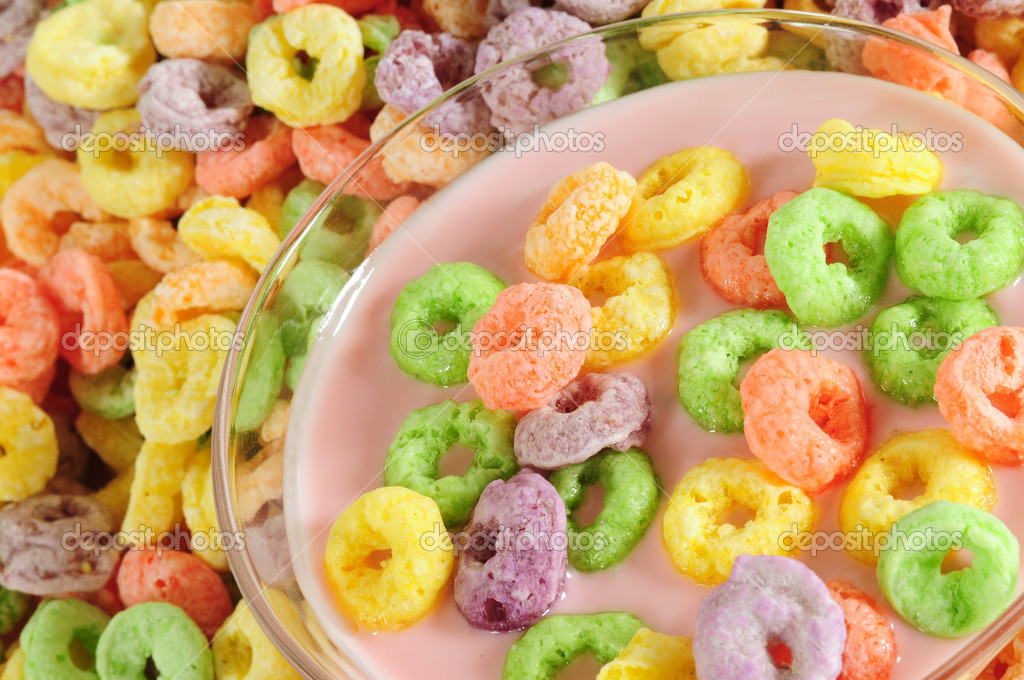Colorful fruit cereal with milk or yogurt. — Stock Photo #2421664