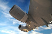 Airplane Wing with turbines — Stock Photo