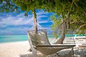 Stranden hängmatta — Stockfoto