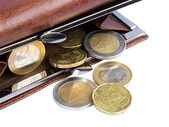 Open wallet with coins — Stock Photo