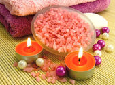 Aroma candle and rose bath salt — Stock Photo