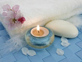 Aromatic candle for relax — Stock Photo