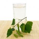 Glass of birch juice — Stock Photo