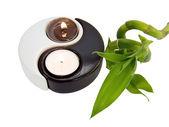 Candlestick yin-yang, candles and bamboo — Stock Photo