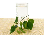Glass of birch juice — Stock Photo