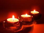 Three aroma candles — Stock Photo