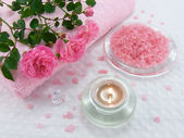Bath salt and aroma candle — Stock Photo