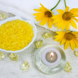 Bath salt and aroma candle - Stock Photo