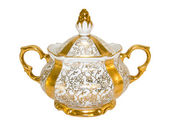 Gold antique porcelain sugar bowl — Stock Photo