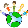Kids and planet earth — Stock Photo