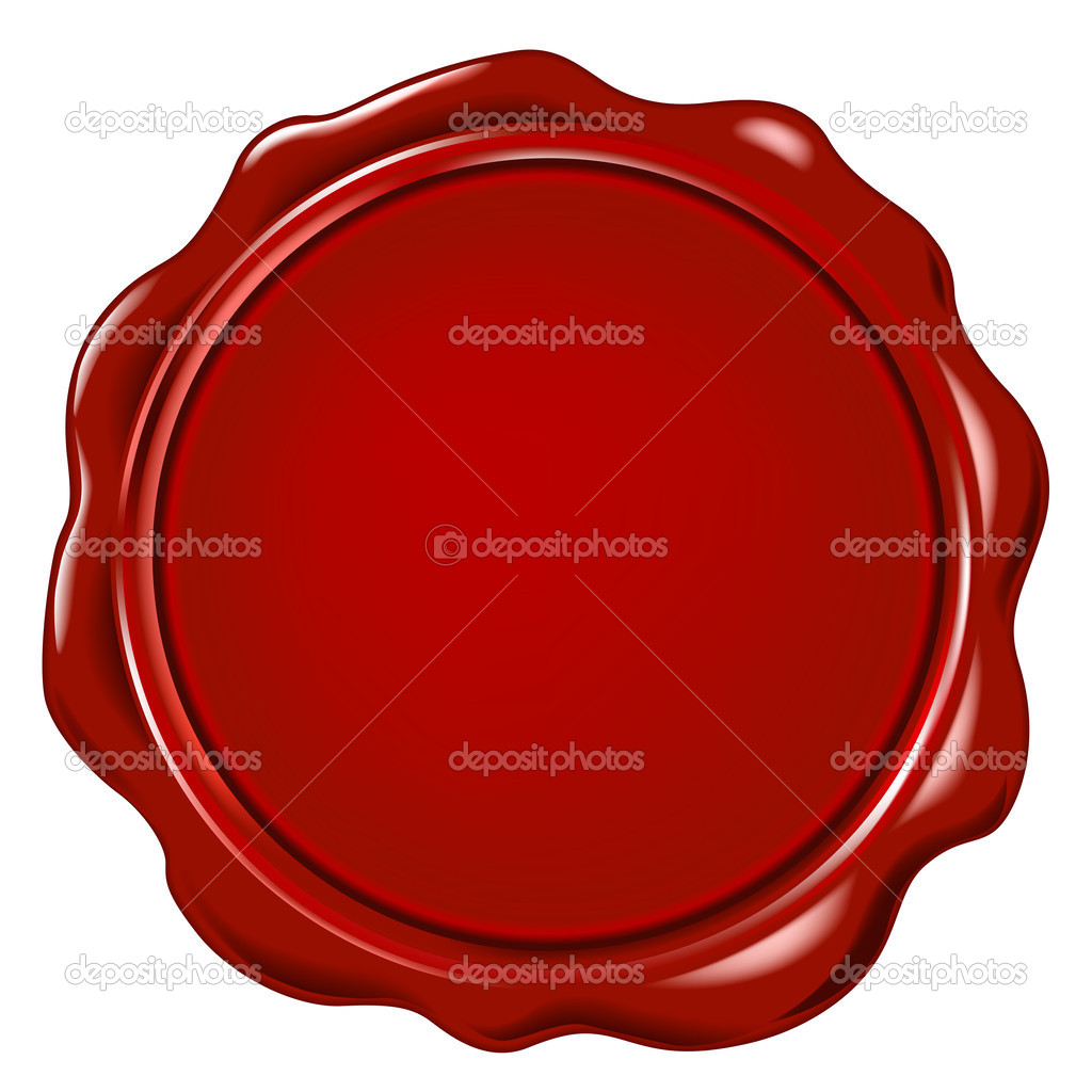 Red wax seal wit space for text — Foto Stock #2536142