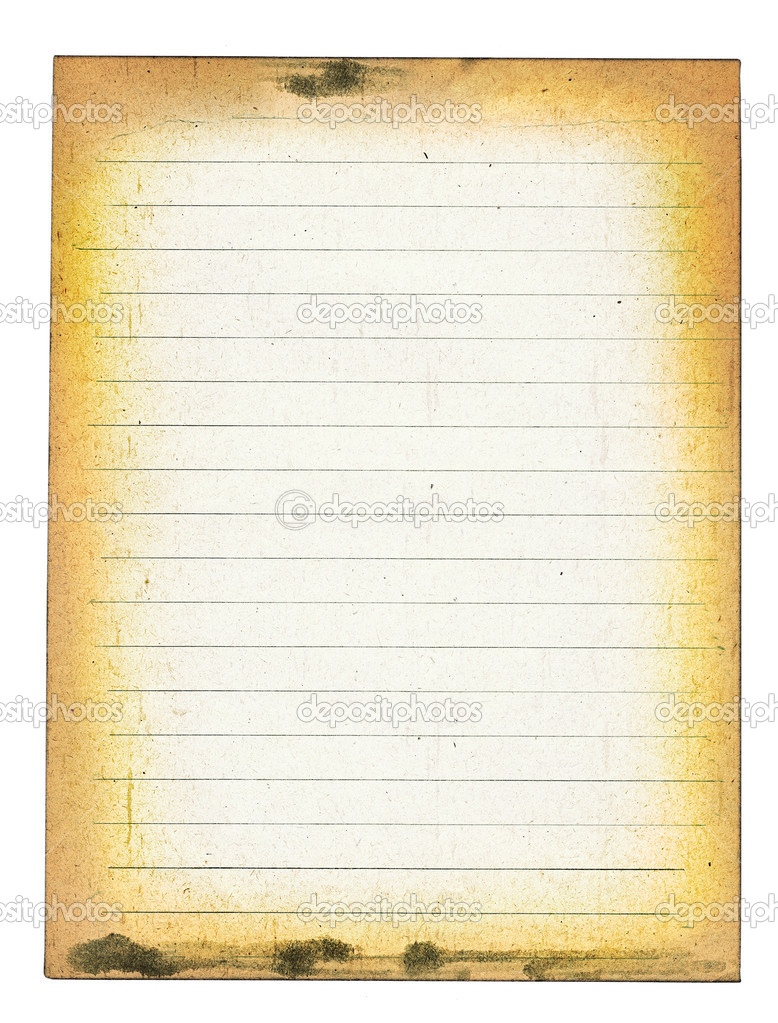 Old dirty lined paper isolated on white ackground — Stock Photo #2165599