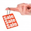 Hand holding sale tag — Stock Photo #2181579
