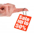 Hand holding sale tag — Stock Photo