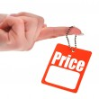 Hand holding blank price tag — Stock Photo