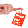 Hand holding price tag — Stock Photo