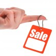 Hand holding sale tag — Stock Photo #2186341