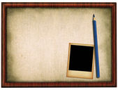 Wooden frame pencil and photo — Stock Photo