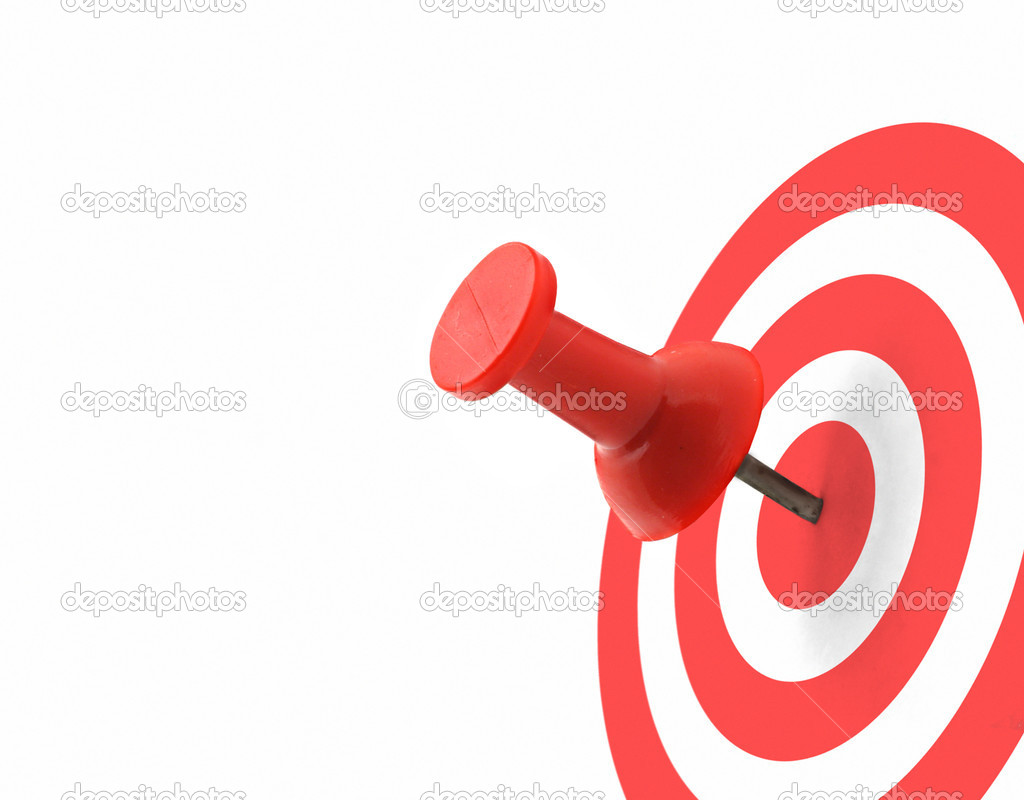 Target concept - red thumbtack placed in the centre — Stock Photo #2185511