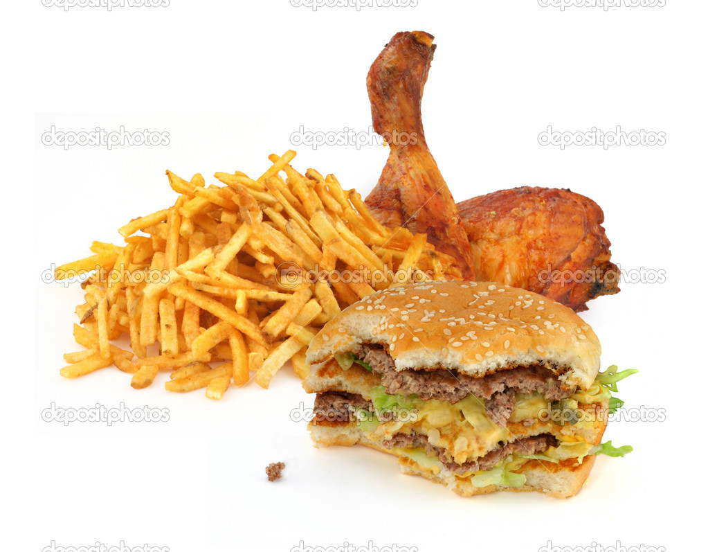 Fast food collection on on white background — Stock Photo #2186235