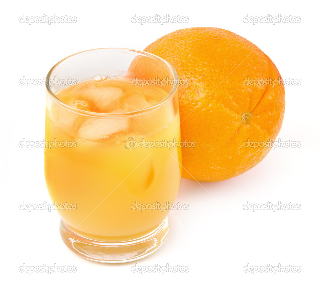 Freshly squeezed orange juice on white background, gentle shadow in front  Stock Photo #2186890