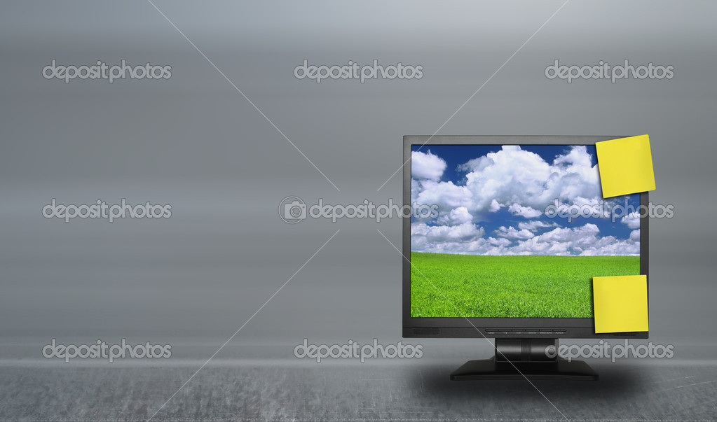 Adhesive notes on lcd screen against abstract background, photo inside LCD is my property — Stock Photo #2199843