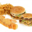 Unhealthy food composition — Stock Photo