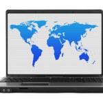 世界地图的笔记本计算机 — 图库照片