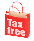 Red paper bag with tax free sign — Stock Photo