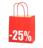 Shopping bag with -25% sign on white — Stock fotografie
