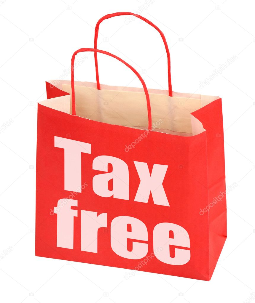 Red paper bag with tax free sign on white background, photo does not infringe any copyright — Stock Photo #2200056