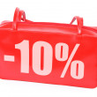 Red leather handbag with -10% sign — Stock Photo