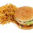 French fries and hamburger — Stock Photo