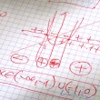 Hand written maths calculations in red — Stock Photo #2217186