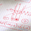 Hand written maths calculations in red — Stock Photo